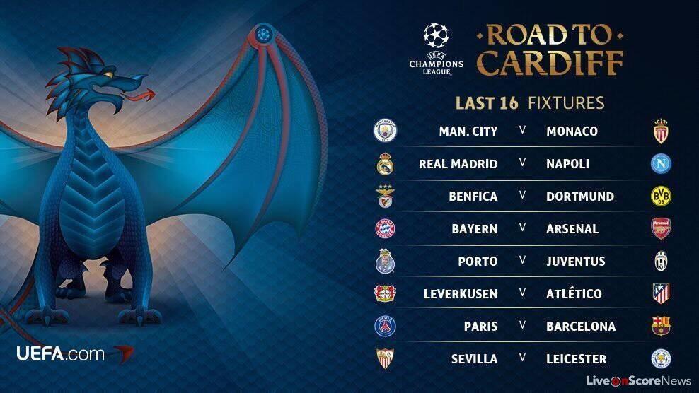 Champions League round of 16 draw | LiveonScore.com