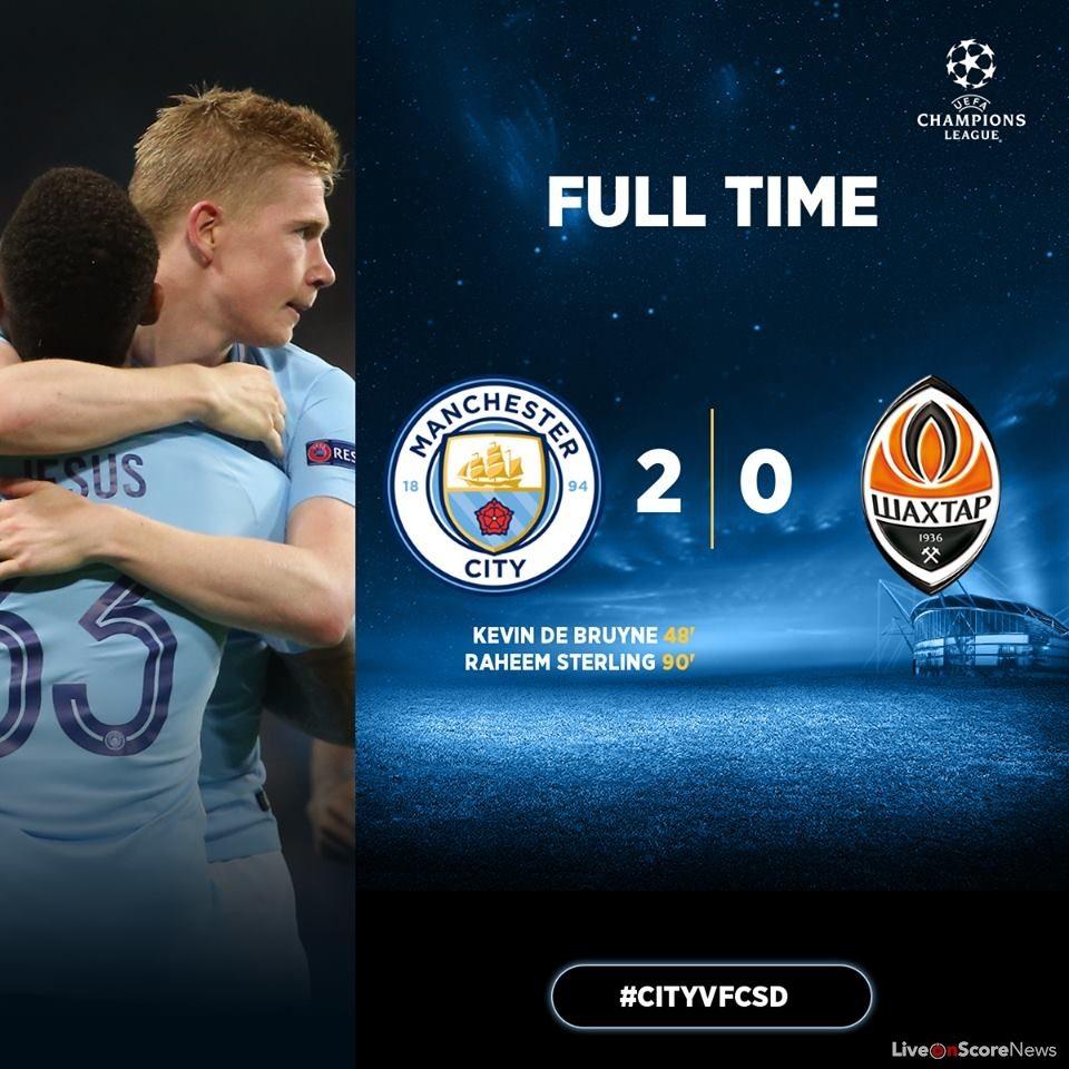 Tottenham Vs Ajax Score: Manchester City 2-0 Shakhtar Donetsk Full Highlights