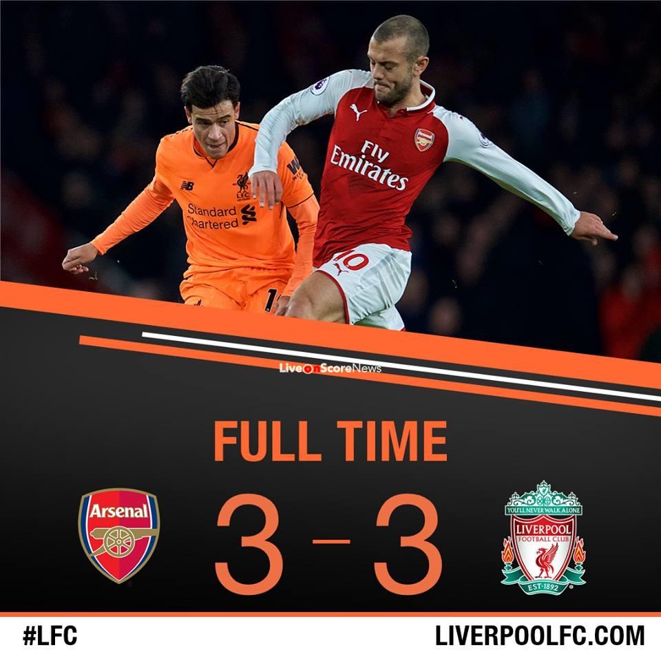 Arsenal Vs Tottenham Live Score Highlights From Premier: Arsenal 3-3 Liverpool Full Highlights Premier League 2017