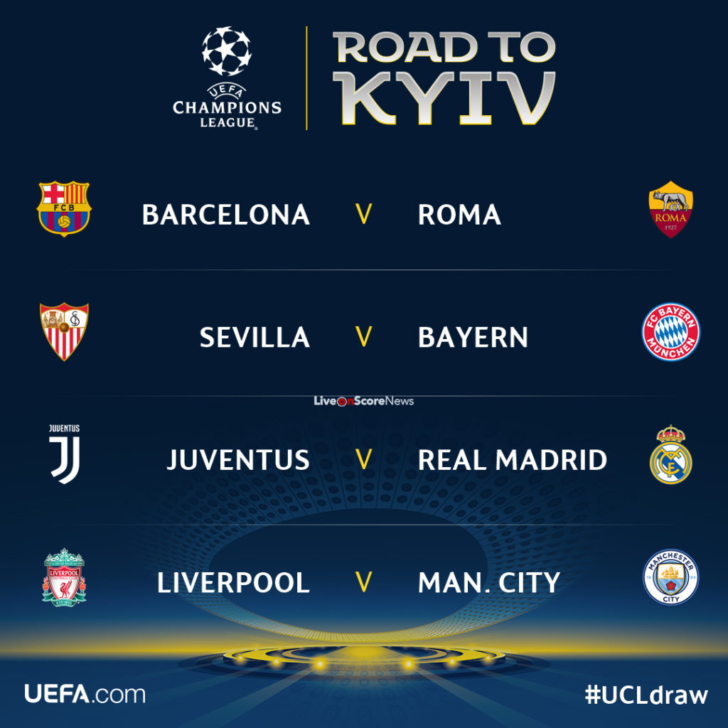 Champions League quarter-final draw - LiveonScore.com