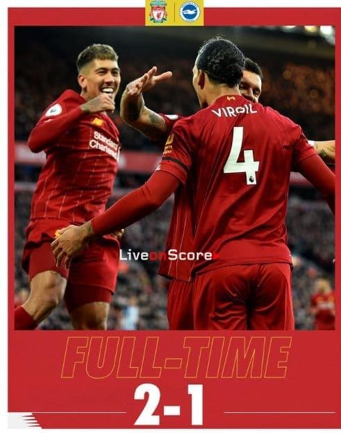 Liverpool 2-1 Brighton Full Highlight Video – Premier League