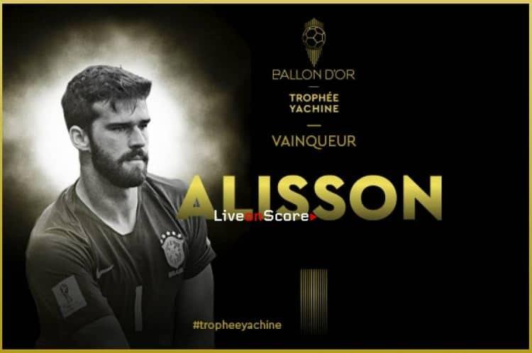 Alisson Becker wins Yachine Trophy goalkeeper award