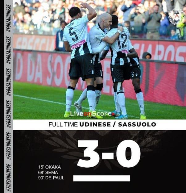 Udinese 3-0 Sassuolo Full Highlight Video – Serie Tim A
