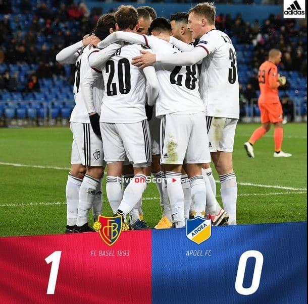 Basel 1-0 APOEL Uefa Europa League 1/16 Final FT Score & Goals