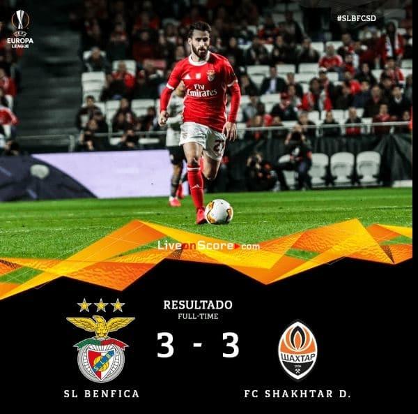Benfica 3-3 Shakhtar Donetsk Uefa Europa League 1/16 Final FT Score & Goals