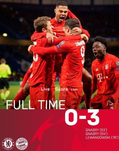 Chelsea 0-3 Bayern Champions League 1/8 Final FT Score & Goals