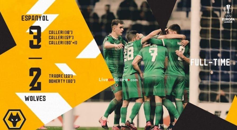 Espanyol 3-2 Wolves Uefa Europa League 1/16 Final FT Puntaje & Goles