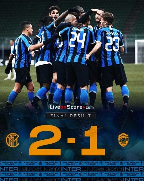 Inter 2-1 Ludogorets Uefa Europa League 1/16 Final FT Score & Goals