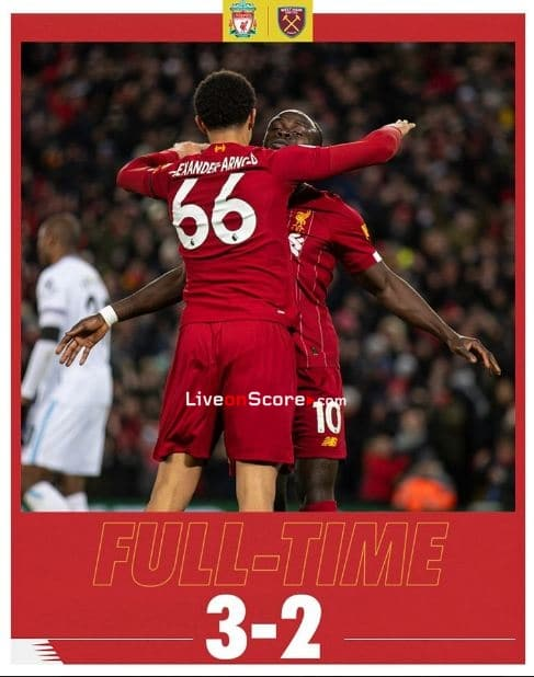 Liverpool 3-2 West Ham Full Highlight Video – Premier League