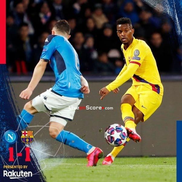 Napoli 1-1 Barcelona Champions League 1/8 Final FT Score & Goals