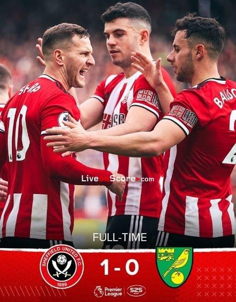 Sheffield Utd 1-0 Norwich Goles y resultado - Premier League