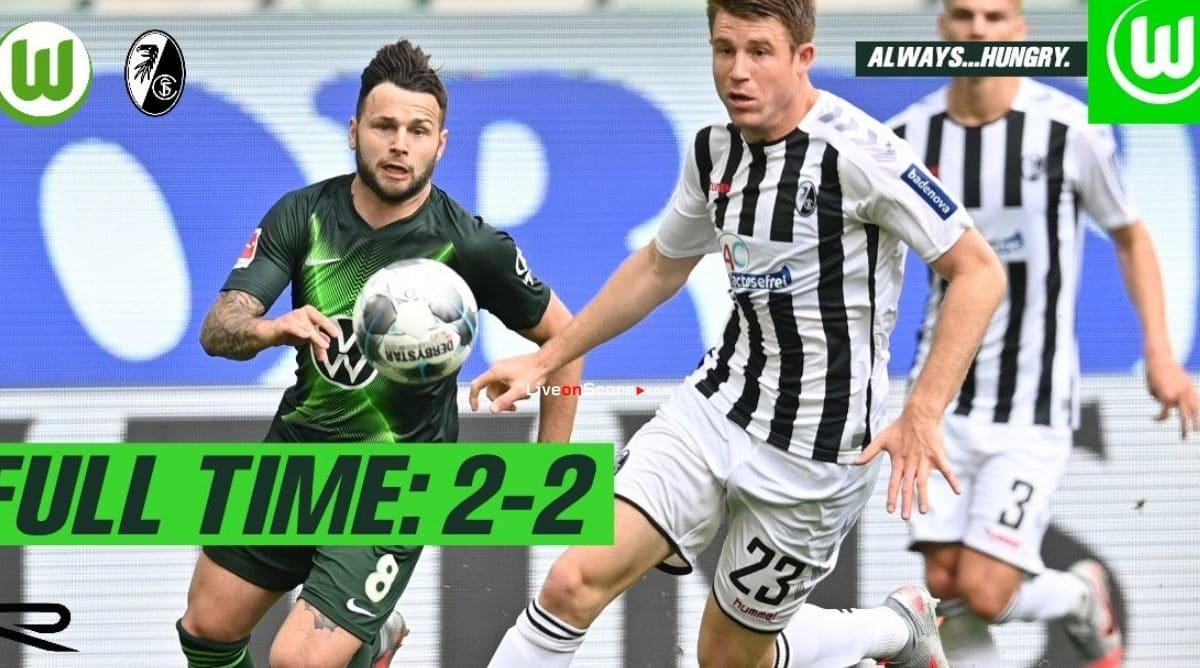 Wolfsburg 2-2 Freiburg Goles y resultado - Bundesliga