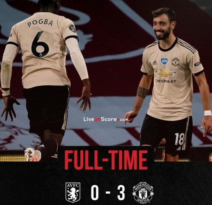 Aston Villa 0-3 Manchester Utd Goles y resultado - Premier League