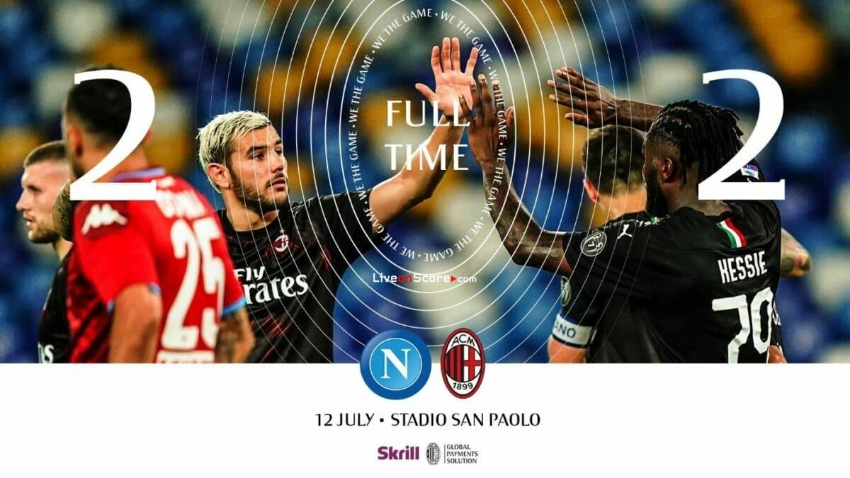 Napoli 2-2 AC Milan Goles y resultado - Serie Tim A