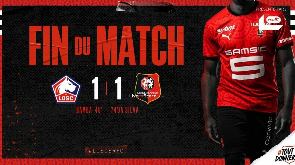 Lille 1-1 Rennes Goles y resultado - Francia Ligue 1