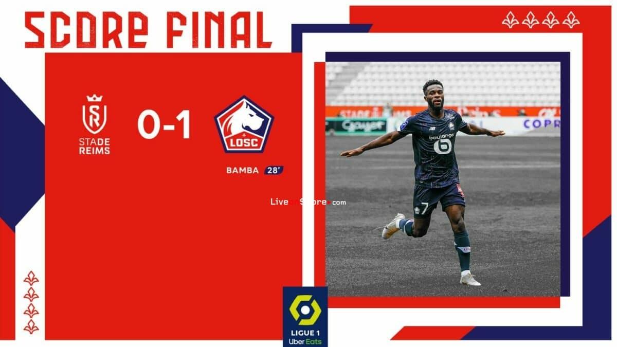 Reims 0-1 Lille Goles y resultado - Francia Ligue 1