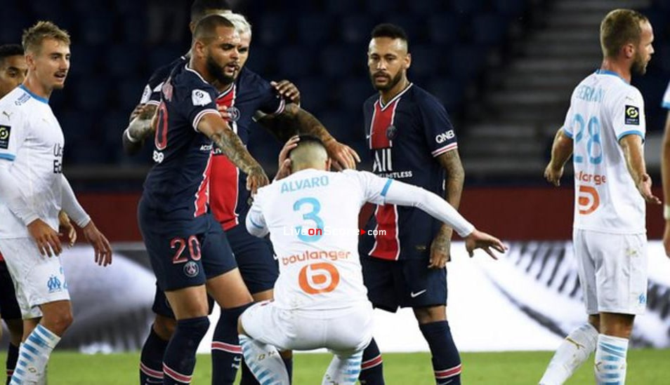 Neymar one of five sent off in injury-time brawl as Marseille beat PSG in Paris