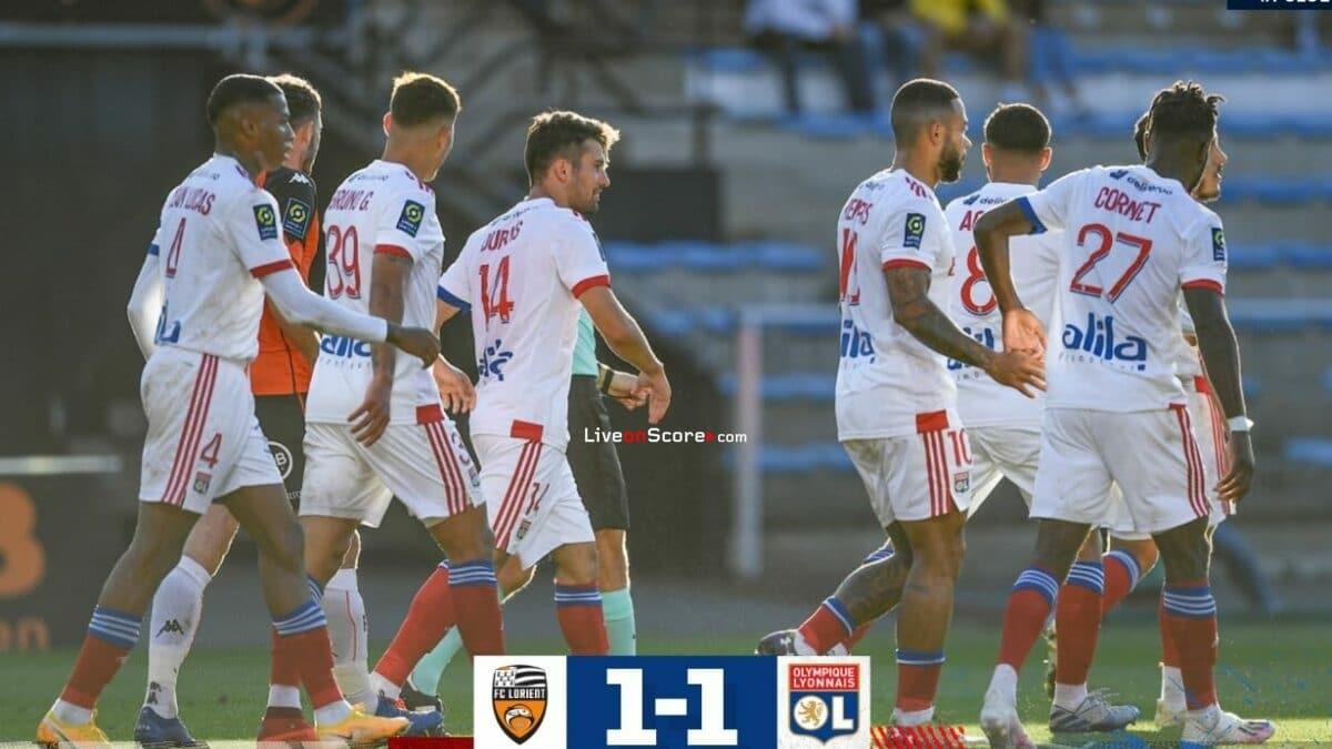Lorient 1-1 Lyon Goles y resultado - Francia Ligue 1