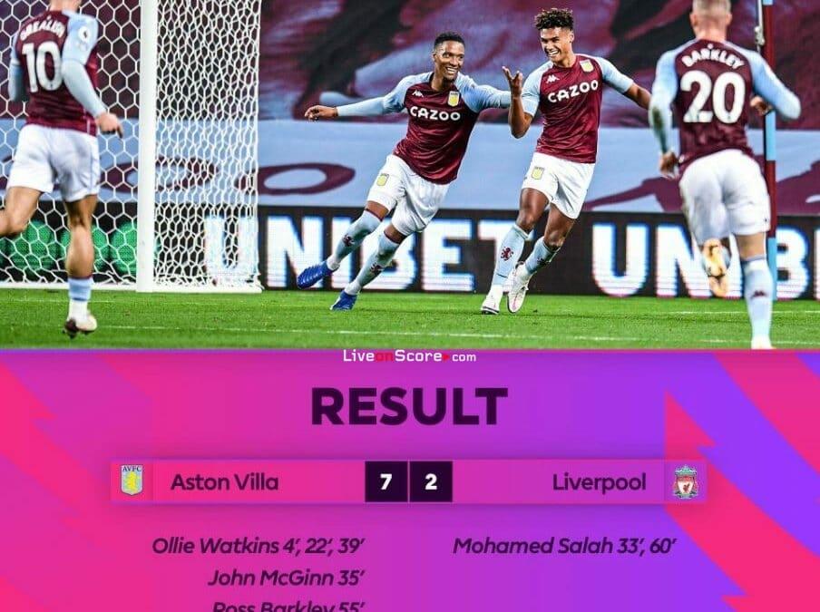 Aston Villa 7-2 Liverpool Goles y resultado - Premier League