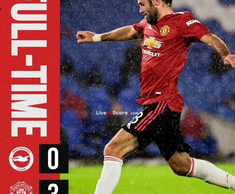 Brighton 0-3 Manchester Utd Goles y resultado - Copa EPL