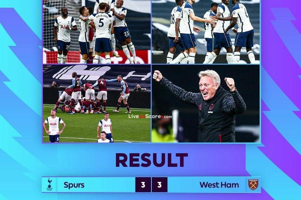 Tottenham 3-3 West Ham Goles y resultado - Premier League